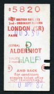 Railway Ticket : British Rail (S) LONDON To ALDERSHOT  Child Return : 1982 - Europe