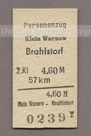 BRD - Pappfahrkarte (Deutsch Reichsbahn) --- Klein Warnow - Brahlstof - Trenes