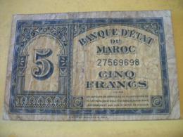 A 2443 BANQUE D'ETAT DU MAROC 5 FRANCS 01. 03. 1944 N° 27569698 - Morocco