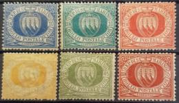 SAN MARINO 1877-99 - MLH - Sc# 7, 8, 11, 16, 19, 20 - Unused Stamps