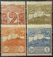 SAN MARINO 1903/25 - MLH - Sc# 41, 43, 46, 70 - 2c 5c 10c 1L - Unused Stamps
