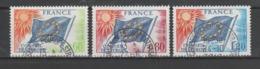 FRANCE / 1975 / Y&T SERVICE N° 46/48 : Conseil De L'Europe (Drapeau 60c, 80c & 1F20) - Tous Cachets Ronds CONSEIL - Service