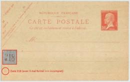 Entier FRANCE - Carte Date 318 (3 Incomplet) Neuf - 30c Pasteur Rouge - Ganzsachen