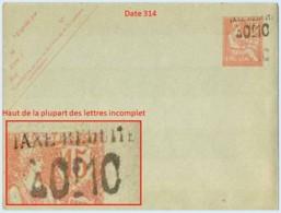 Entier FRANCE - Enveloppe Date 314 Neuf ** - 10c/15c Mouchon Retouché Vermillon - Standard- Und TSC-Briefe (vor 1995)