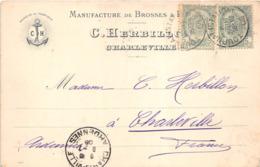 """¤¤ -   CHARLEVILLE   -  Carte Publicitaire De La Manufacture De Brosses Et Pinceaux """" C. HERBILLON """" En 1908   - ¤¤ - Charleville"""
