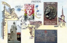 France-FDC-1990-yt 2668-abbé Grégoire-carte (édition Spéciale Club De Lunéville) - FDC