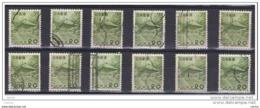 GIAPPONE:  1953  TEMPIO  D' ORO  -  20 Y. OLIVA  US. -  RIPETUTO  12  VOLTE  -  YV/TELL. 550 - 1926-89 Imperatore Hirohito (Periodo Showa)