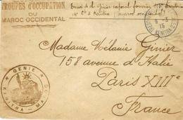1915- Enveloppe En F M De '  KENITRA  * GENIE * MAROC - Maroc (1891-1956)