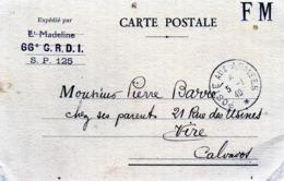 MILITARIA -  CPA . FM .  Expédié Par Le Lieutenant MADELINE -  66é G.R.D.I - S.P 125  - 4 Jan 1940 - Guerra 1939-45