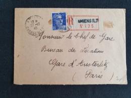 Recommandé AMIENS RP , CHARGEMENTS - 27 Décembre 1945 - Gandon YT 720 - Somme - 1921-1960: Periodo Moderno