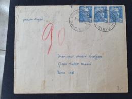 PNEUMATIQUE - PARIS XX - 24 Avril 1947 - Gandon YT 718A - En  Arrivée PARIS 90 - Marcophilie (Lettres)