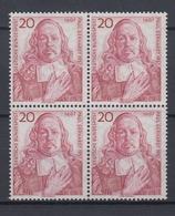 Bund 253 4er Block 350. Geburtstag Von Paul Gerhardt 20 Pf Postfrisch  - [7] République Fédérale