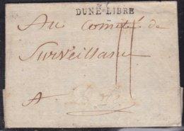 France, Nord - 57/Dune Libre, Nom Révolutionnaire De Dunkerque Sur Imprimé Du Comité Révoluti. De L' An 2 - Indice 17 - Marcofilie (Brieven)