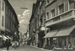 Voghera (Pavia) Via Emilia, Emilia Street, Rue Emilia, Auto D'Epoca E Biciclette - Pavia