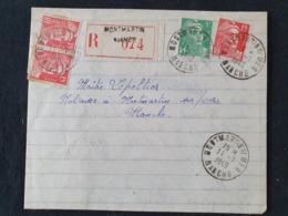 Recommandé MONTMARTIN SUR MER - 11 Juillet 1949 - Manche - Gandon YT 809 813 - Marcophilie (Lettres)