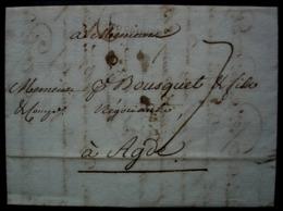 Toulouse 1791 Marque Noire Petite Taille (11mm X 3mm) Sur Une Lettre Pour Agde - 1701-1800: Précurseurs XVIII