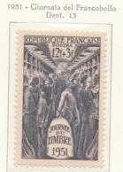 PIA  - FRAN : 1951 : Giornata Del Francobollo - (Yv 879) - Giornata Del Francobollo