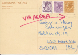 Italy Uprated Postal Stationery Card Sent To Switzerland Firenze 4-3-1967 - 6. 1946-.. Republik