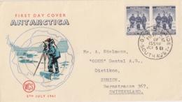 Polaire Australien, N° 6 X 2 (David, Mawson Et Mc Kay) Obl. Adelaide Le 5 JLY 61 Premier Jour Sur FDC - Australisches Antarktis-Territorium (AAT)