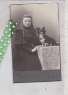 Card De Visite, Visitekaart Fotograaf Th. Jensen, Ronse, Renaix; Vrouw Met Hondje, Grootte 6cm Op 10cm - Photos