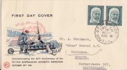 Polaire Australien, N° 7 X 2 (Mawson) Obl. Adelaide Le 18 OTC 61 Premier Jour Sur FDC (traineau Et Chiens) - Australisches Antarktis-Territorium (AAT)