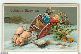N°10344 - Carte Fantaisie Gaufrée - Gelukkig Nieuw Jaar - Attelage De Cochons - Pièces D'or - Nieuwjaar