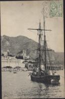 CPA Monaco Vue Sur Monté Carlo Prise Du Port ND Phot 935 Bateau Voyagée 1909 - Monte-Carlo
