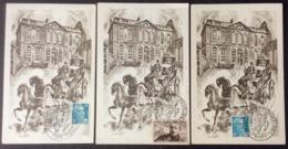 CM394 Lot 3 Carte Maximum Exposition Postale Et Philatélique Nancy Tours Clermont-Ferrand 1950 T 865 Et 810 - Cartes-Maximum