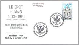 LE DROIT HUMAIN 1893-1993. Ordre Maçonnique Mixte International. SPD/FDC Paris 1993 - Freemasonry