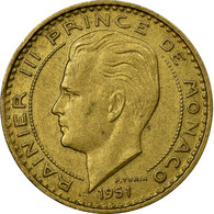Monnaie, Monaco, Rainier III, 20 Francs, Vingt, 1951, TTB, Aluminum-Bronze - Mónaco