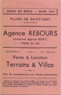 Horaires Des Marées - Plage De Saint Cast - 1949 - Port De Saint Malo - Vecchi Documenti