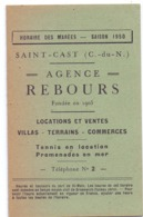 Horaires Des Marées - Plage De Saint Cast - Saison 1950 - Port De Saint Malo - Vecchi Documenti