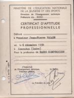 Ministére De L'Ed. Nationale Jeunesse Et Sports/Certificat D'aptitude Professionnel/Radio-électricien/NORD/1960   CAH291 - Diplômes & Bulletins Scolaires