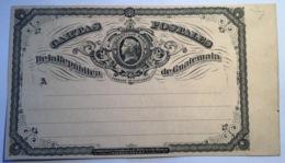 Guatemala 1875 RARE PC3 1/4 Real On PINKISH BUFF MOTTLED Card Postal Stationery (postal Cards Entier Postal Ganzsache - Guatemala