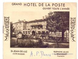 Pub Reclame Brochure Toerisme Tourisme - Grand Hotel De La Poste - St Jean De Luz - Publicidad