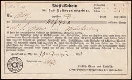 Thurn Und Taxis Post-Schein Paket Von Frankfurt Am Main 10.6.1855 Nach Nauheim - Deutschland