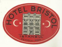 ISTANBUL BEYOGLU PERA ETIQUETTE PUBLICITE HOTEL BRISTOL TURQUIE - Etiquetas De Hotel