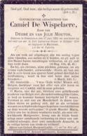 Devotie - Doodsprentje - Oorlogsslachtoffer  Camiel De Wispelaere - Knesselare 1892 - St Catherine Waver 1914 - Hotel's & Restaurants