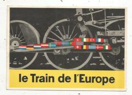 Cp , Chemin De Fer, LE TRAIN DE L'EUROPE ,les Drapeaux Des 18 Pays De La C.E ,  écrite - Trenes
