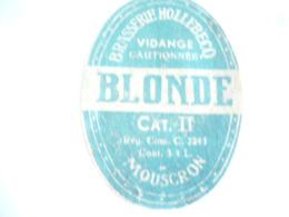 Belgische Bier Etiket Hollebecq Mouskroen - Alcools