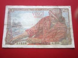 1949 Monnaie Billets De Banque Bank Billet FRANCE 1871-1952 Anciens Francs Circulés Au XXème  20 F 1942-1950 ''Pêcheur' - 1871-1952 Antichi Franchi Circolanti Nel XX Secolo