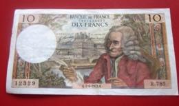 1972 Monnaie Billets De Banque Bank Billet FRANCE 1962-1997 ''Francs''  10 F 1963-1973 ''Voltaire'' - 1962-1997 ''Francs''