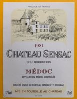 11708 - Château Sensac 1981 Médoc - Bordeaux