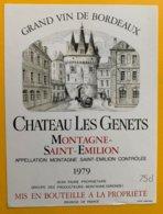 11710 - Château Les Genets  1979 Montagne Saint-Emilion - Bordeaux