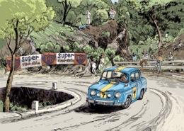 ILLUSTRATEUR MICHAËL CROSA  VOITURE DES ANNEES 60  LA RENAULT R8 GORDINI DANS LA COURSE DE LA CÔTE D'AMPUS À DRAGUIGNAN - Passenger Cars