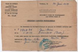 Ville De ROUBAIX/Institut Turgot/Collége Technique/Certificat D'aptitude Professionnelle/Monteur Cableur/1959  CAH292 - Diplômes & Bulletins Scolaires