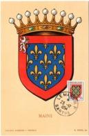 HERALDIQUE = 72 LE MANS 1954 = CARTE MAXIMUM  Illustrée D' ARMOIRIES + N° Yvt 999 MAINE - Maximum Cards