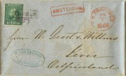 1868 AMSTERDAM, Bf M. Inhalt N. Jever /Ostfriesland - Periode 1852-1890 (Willem III)