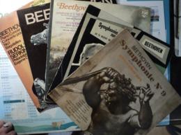 BEETHOVEN. LOT DE CINQ 33 TOURS. 1953 / 1978 CONCERTO POUR PIANO N°1 / BAGATELLES / CONCERTO N°3 / FANTAISIE / SYMPHONI - Classical