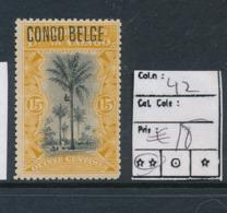 BELGIAN CONGO 1909 ISSUE TYPO. OVERPRINT COB 42 MNH - Congo Belga